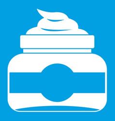Jar of cosmetic cream icon white vector