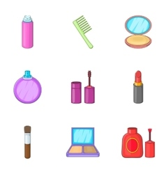 Makeup cosmetics icons set cartoon style vector