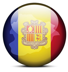 Map on flag button of principality of andorra vector