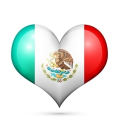 Mexico heart flag icon vector