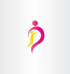 Mother and child parent protection symbol vector