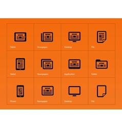 Newspaper icons on orange background vector image vector image
