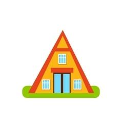 Pyramid shaped suburban house exterior design vector
