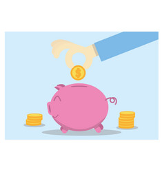 Saving money hand putting coin into piggy bank vector