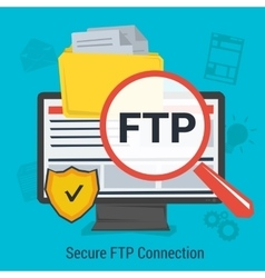 Secure FTP Connection vector image vector image