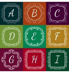 Set of monograms hand drawn style colorful with vector