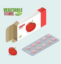 Tomatoes vitamins Vegetarian pills Diet tablets in vector image vector image