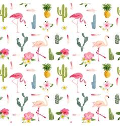 Tropical background flamingo bird cactus vector