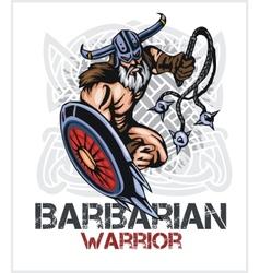 Viking norseman mascot cartoon with bludgeon and vector