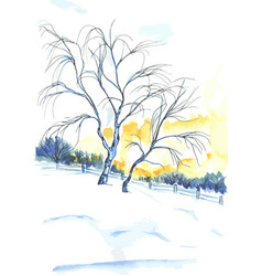 Watercolor painted tree near sunset vector