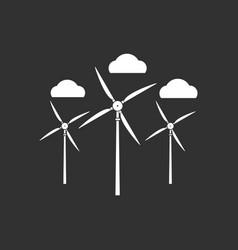 White icon on black background three wind turbines vector