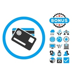 Banking cards flat icon with bonus vector