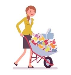 Businesswoman pushing a wheelbarrow full of likes vector