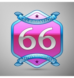 Sixty six years anniversary celebration silver vector