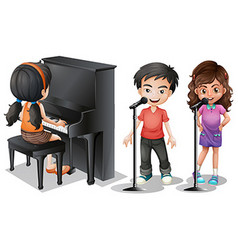 Kids singing and playing piano vector