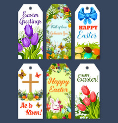 Easter greeting tag and holiday gift label set vector