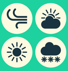 weather icons set collection of sun-cloud snowy vector image