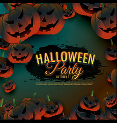 Halloween party background with scary pumpkins vector