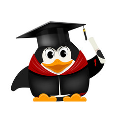 Cartoon image of a young young penguin graduate vector