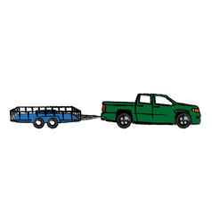 Pickup truck trailer cargo shipping image vector
