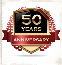 50 years anniversary golden label vector