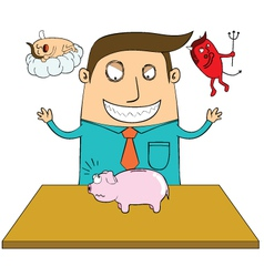 Evil man with piggy bank vector