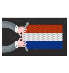 Hand made flag of holland vector