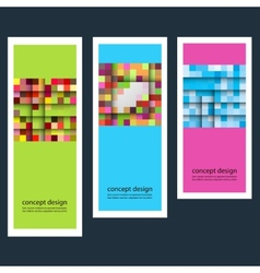 Three abstract sticker squares eps vector
