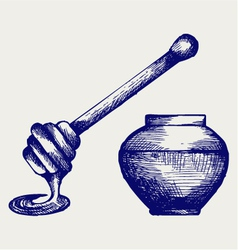 Wooden honey dipper and honey pot vector image