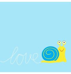 Snail insect dash word love card flat design vector