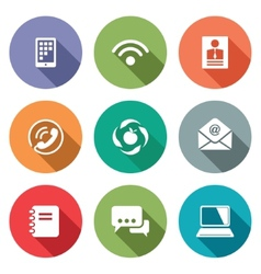 Communication flat icons set vector