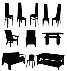 Table and chair black vector