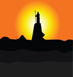 Shepherd on the cliff color silhouette vector