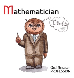 Alphabet professions owl letter m - mathematician vector