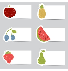 Doodle fruits cards in retro colors vector
