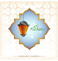 Ramadan greeting card design with lantern vector