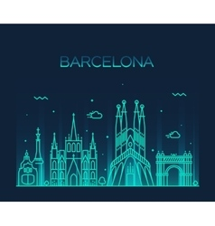 Barcelona city skyline trendy line art vector