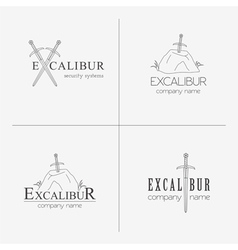 Excalibur outline insignias and logotypes set vector