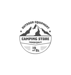 Vintage mountain camping store badge outdoor logo vector