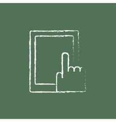 Touch screen tablet icon drawn in chalk vector