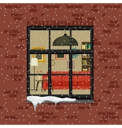 Winter window in brick wall vector