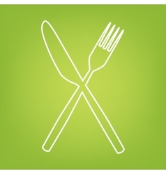 Fork and knife line icon vector