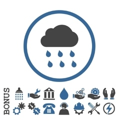 Rain cloud flat rounded icon with bonus vector