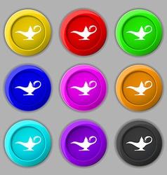 Alladin lamp genie icon sign symbol on nine round vector