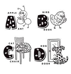 alphabet letter a b c d depicting an ant bird vector image