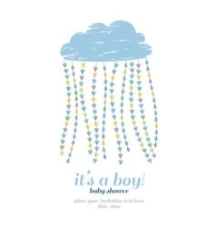 Baby shower boy invitation cloud hearts drops vector