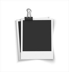 Blank photo frames with clip vector