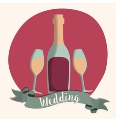 Bottle cup wedding marriage icon graphic vector