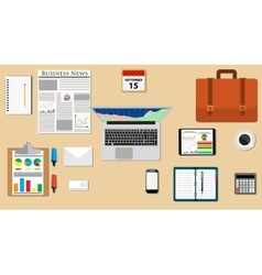 Businessman desk with laptop vector