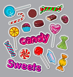candies sweet food doodle stickers badges vector image vector image